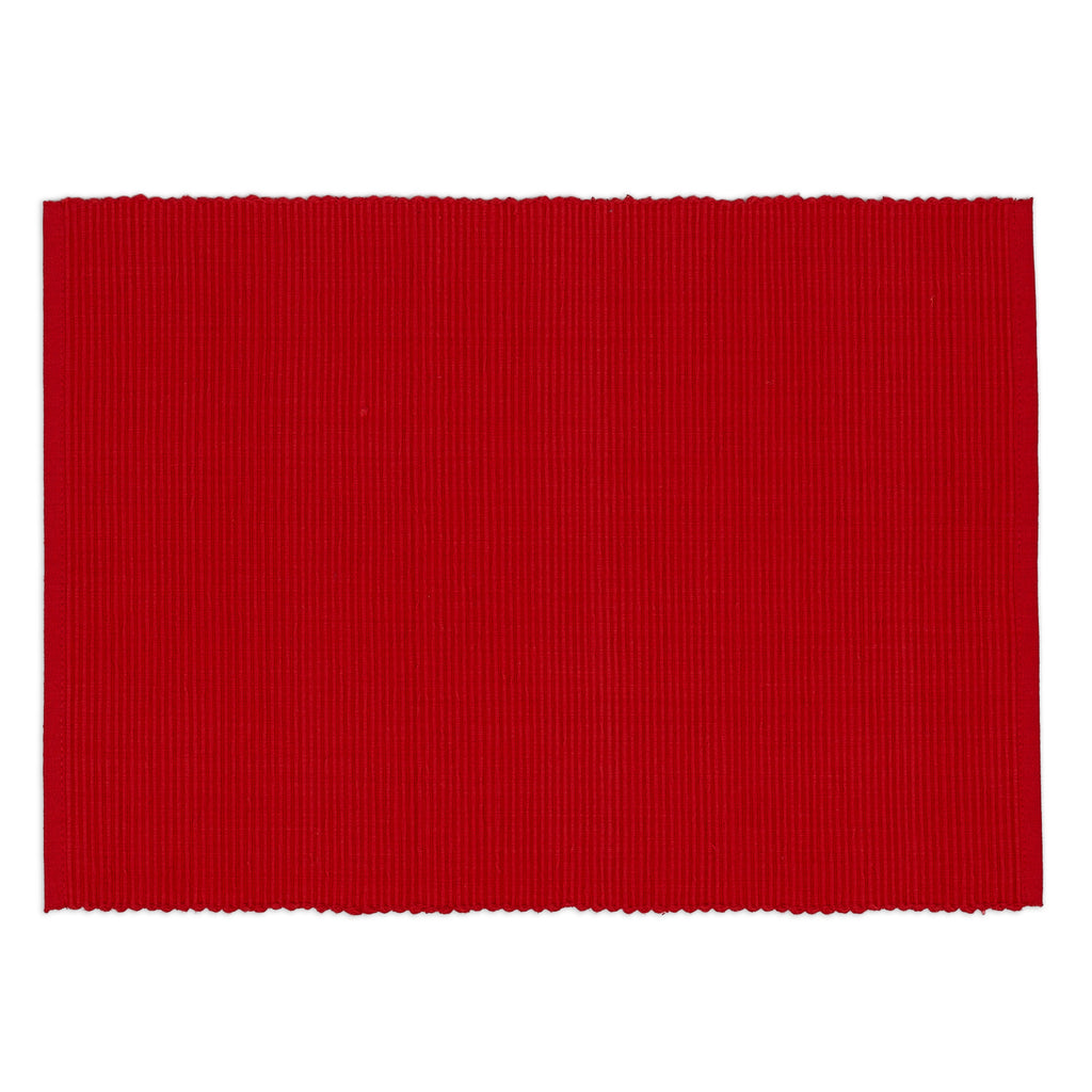DII Ribbon Red Ribbed Placemat (Set of 6)