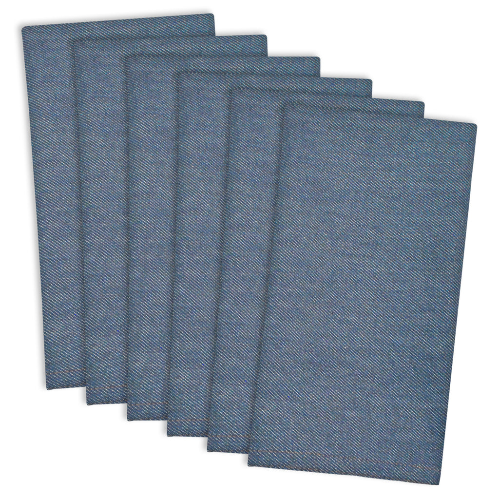 Denim Embroidered Jeans Napkin Set/6