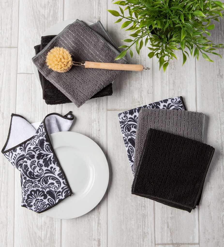 DII Black Microfiber Damask Dishcloth (Set of 6)