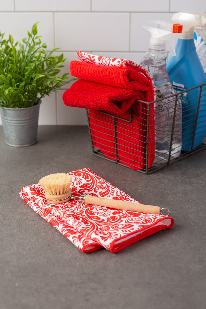 DII Red Damask Microfiber Dishtowel (Set of 4)