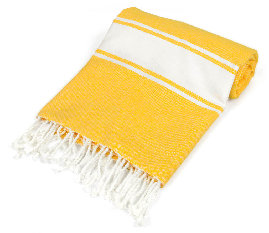DII Yellow Tri Stripe Fouta Towel