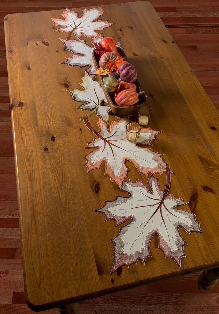 DII Embroidered Maple Leaves Table Runner, 14x60""