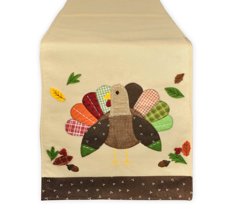 Embroidered Turkey Table Runner 14x64