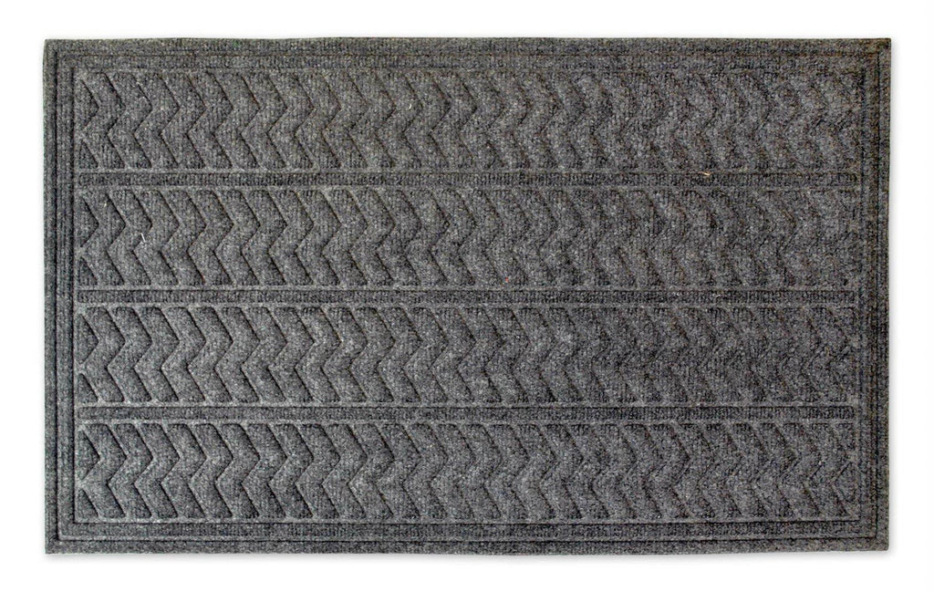 Dark Gray Chevron Hog Mat 18x30