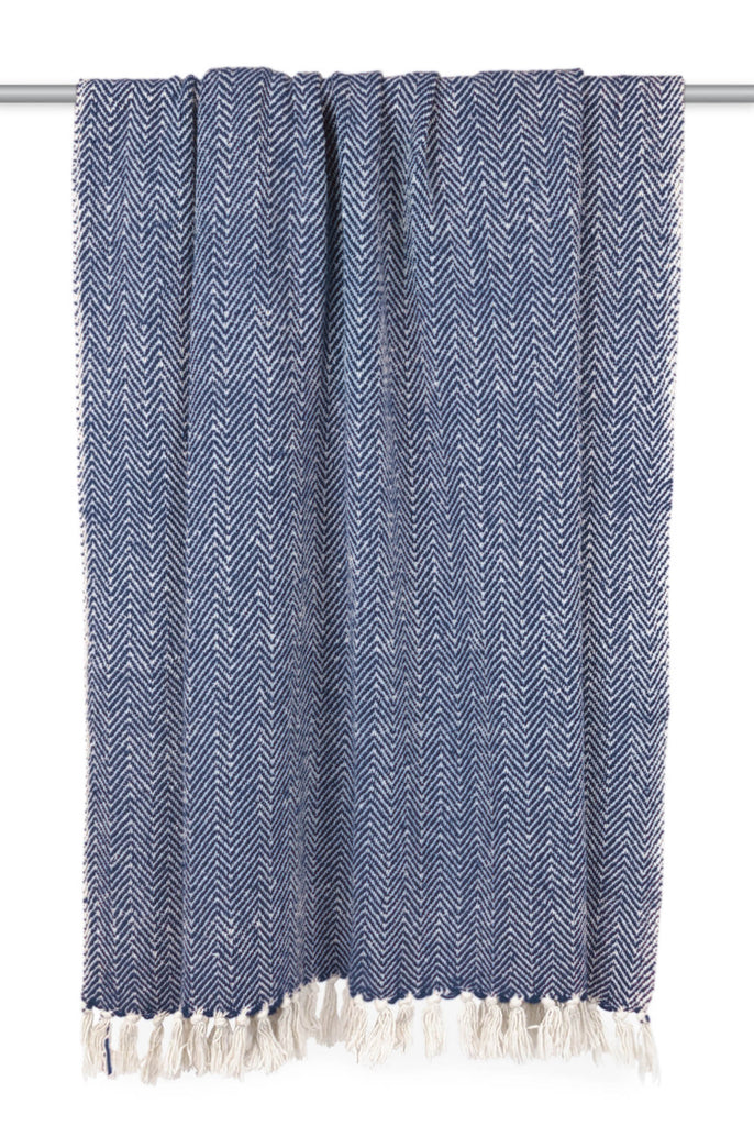 DII Nautical Blue Handloom Chevron Throw