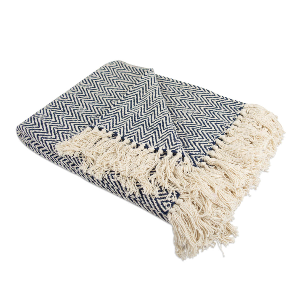 Nautical Blue Handloom Chevron Throw