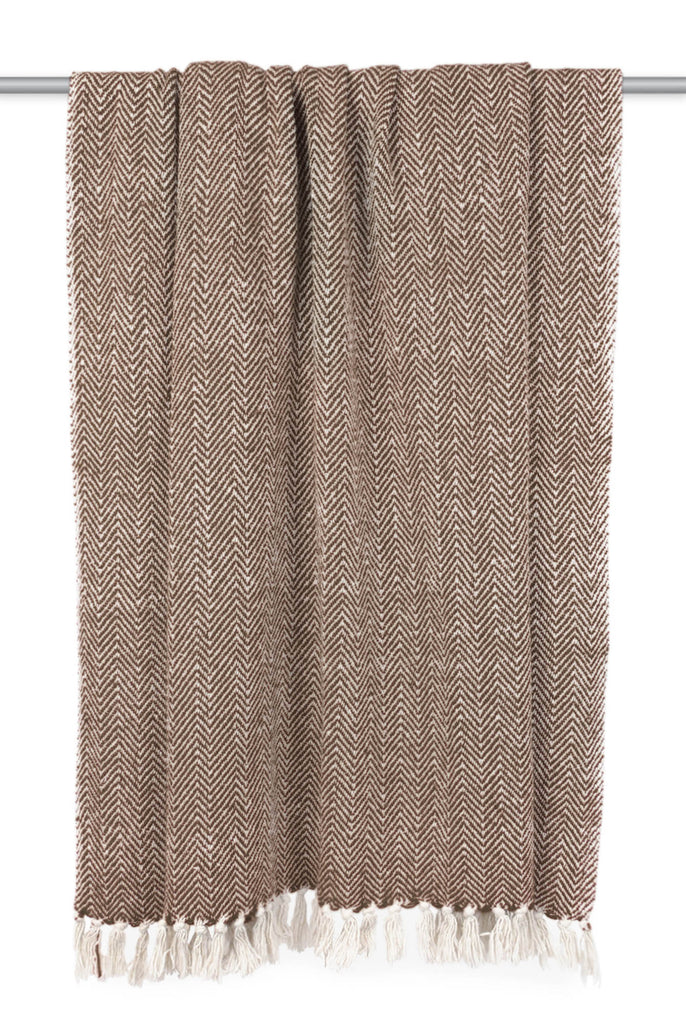 DII Dark Brown Handloom Chevron Throw