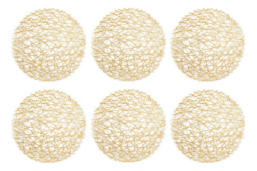 Gold Woven Paper Round Placemat Set/6