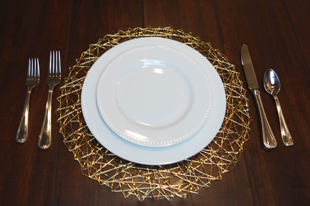 DII Gold Woven Paper Round Placemat (Set of 6)