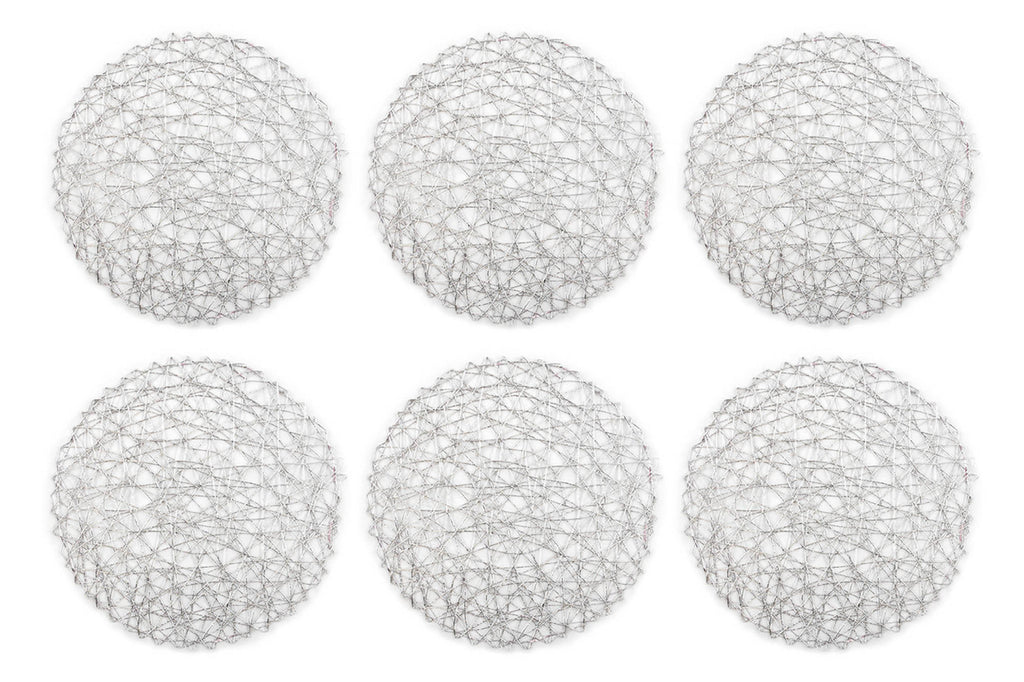 Silver Woven Paper Round Placemat Set/6