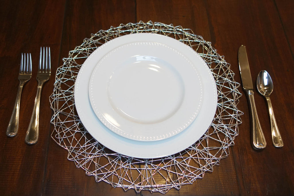DII Silver Woven Paper Round Placemat (Set of 6)