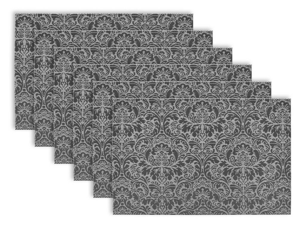Black/White Pvc Damask Placemat Set/6