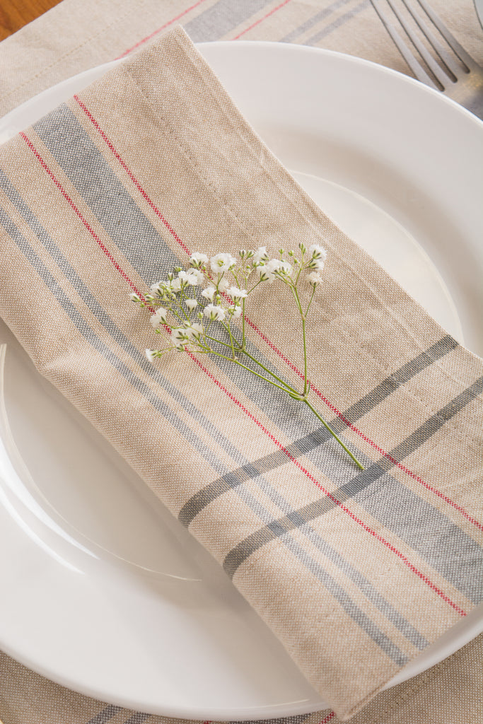 DII Gray French Stripe Napkin (Set of 6)