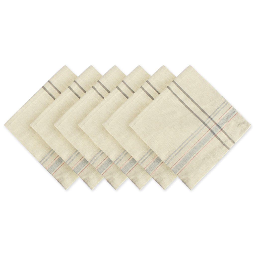 Gray French Stripe Napkin Set/6