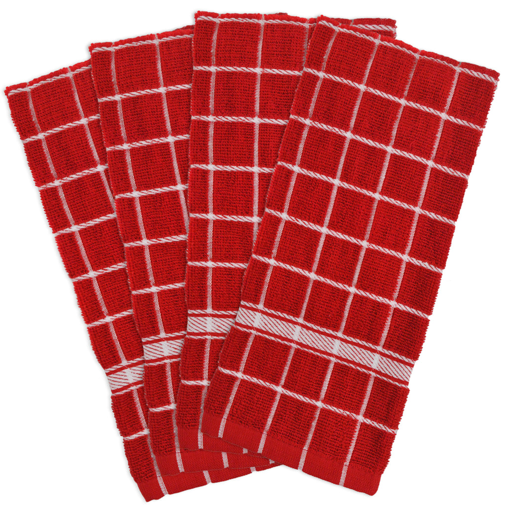 Red Solid Windowpane Terry Dishtowel Set/4