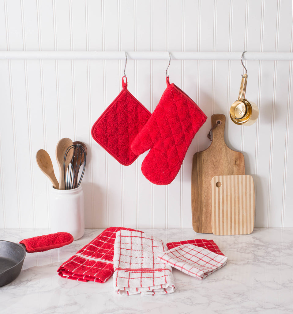 DII Red Solid Windowpane Terry Dishtowel (Set of 4)