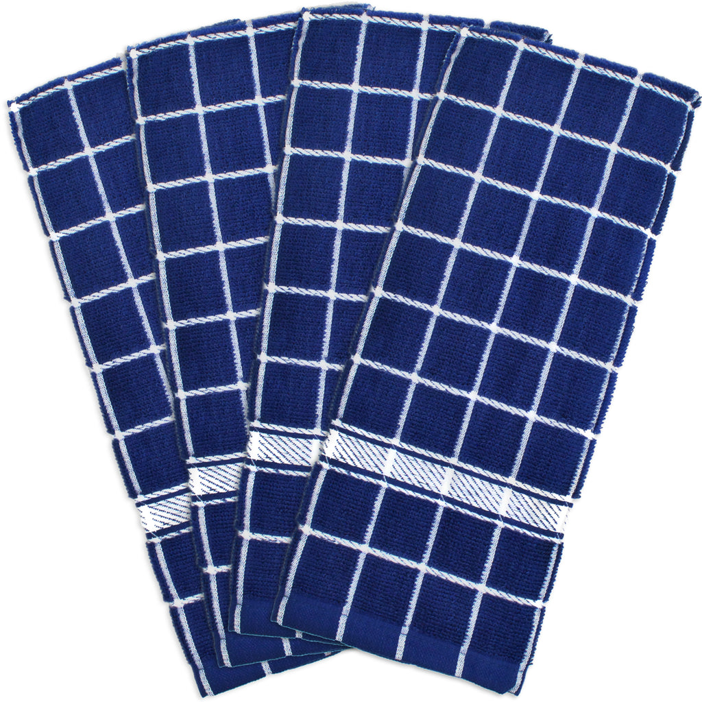 Nautical Blue Solid Windowpane Terry Dishtowel Set/4