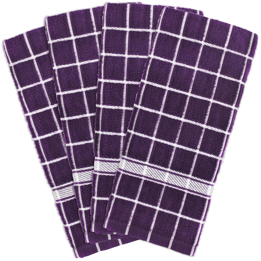 Eggplant Solid Windowpane Terry Dishtowel Set/4