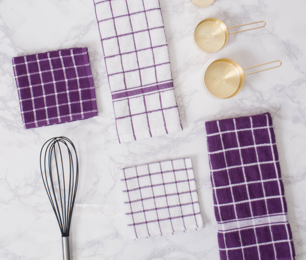 DII Eggplant Solid Windowpane Terry Dishtowel (Set of 4)