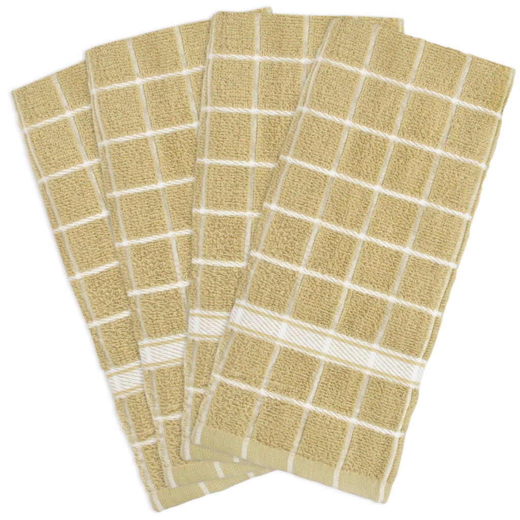 Pebble Solid Windowpane Terry Dishtowel Set/4