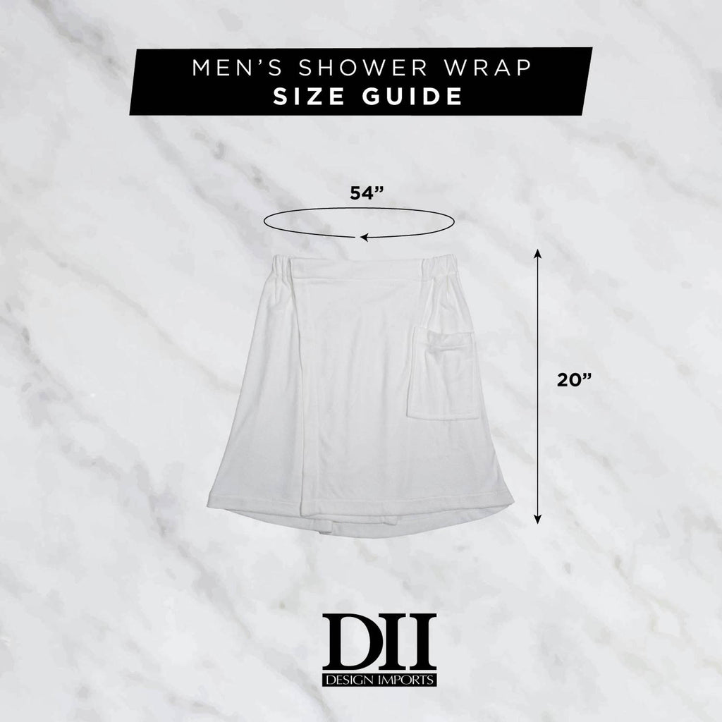 DII White Shower Wrap Mens