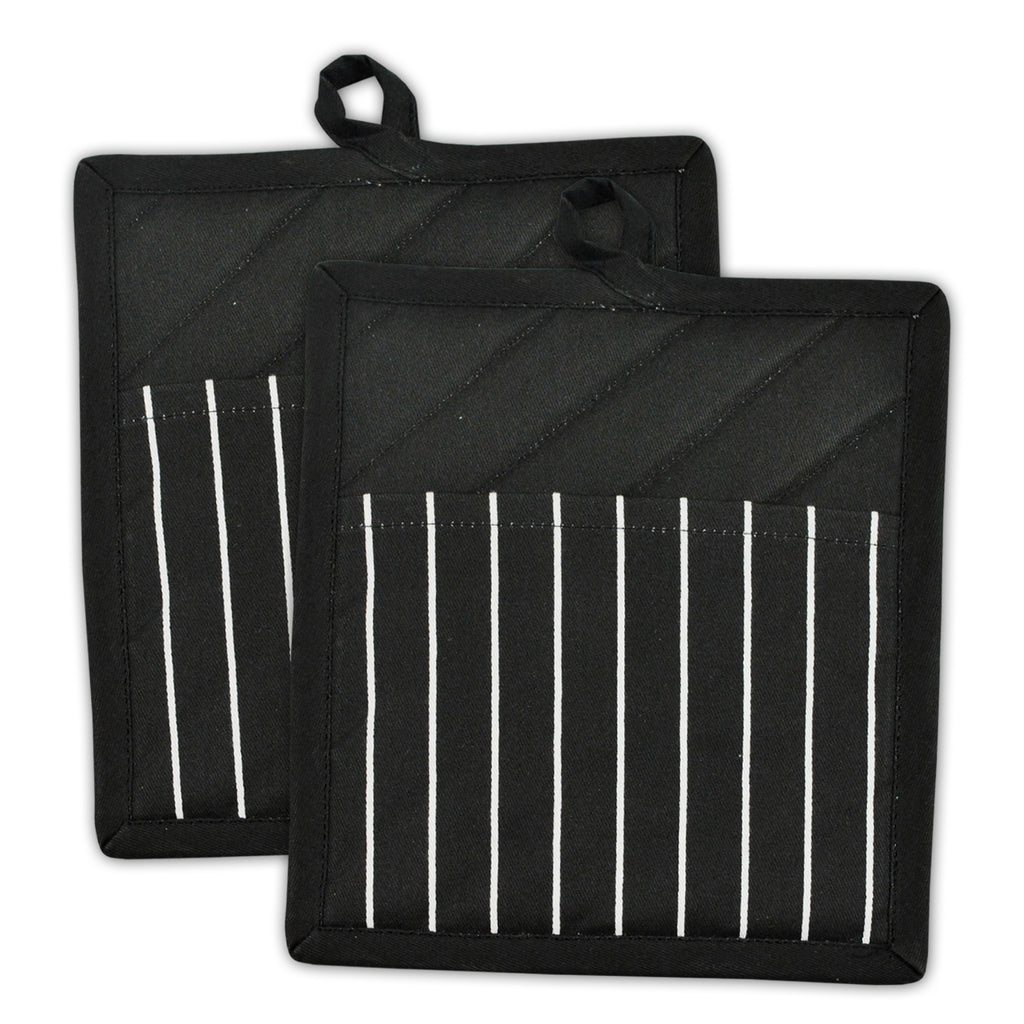 Black Chef Stripe Potholder Set/2