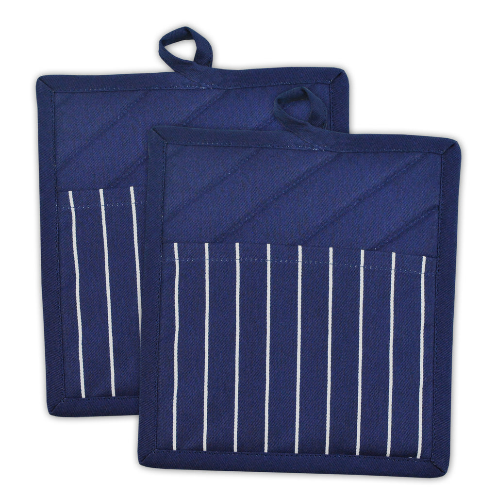 Nautical Blue Stripe Chef Potholder Set/2