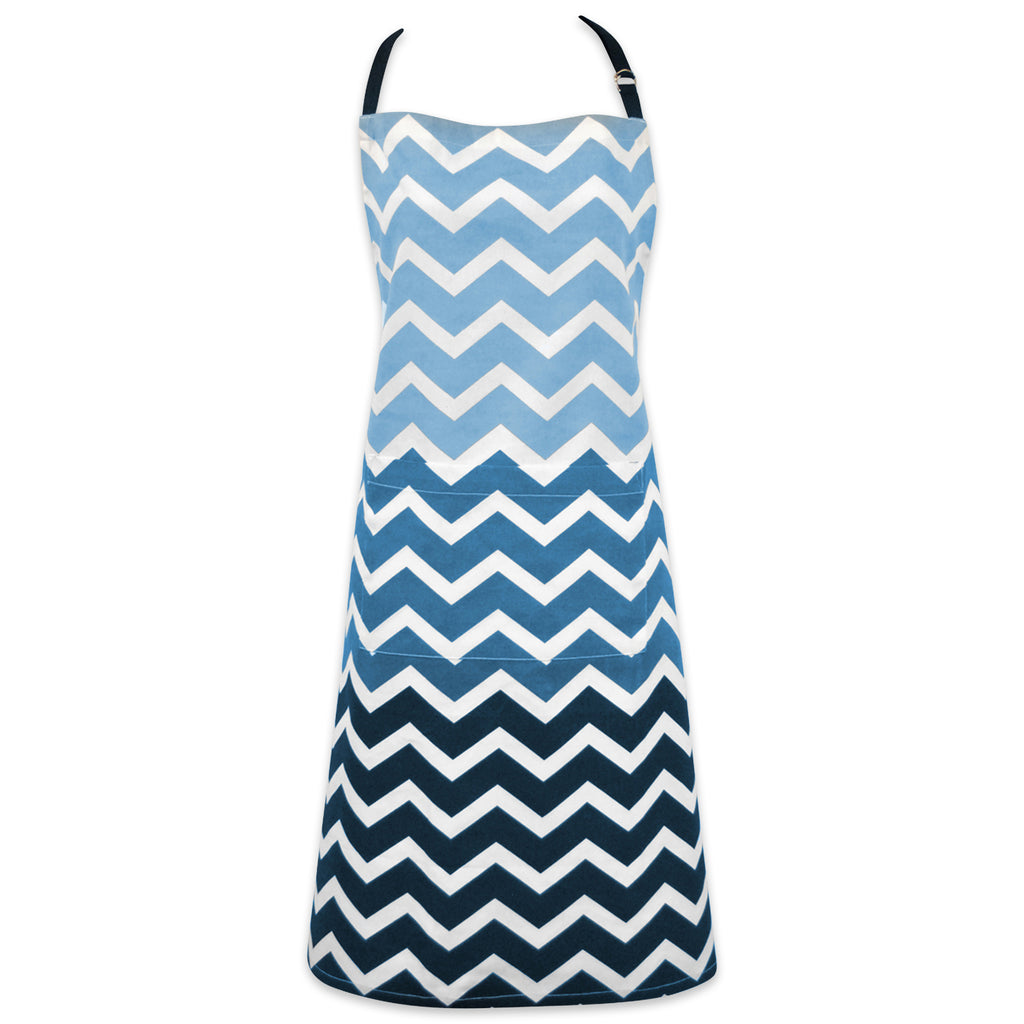 Nautical Blue Chevron Chef Apron