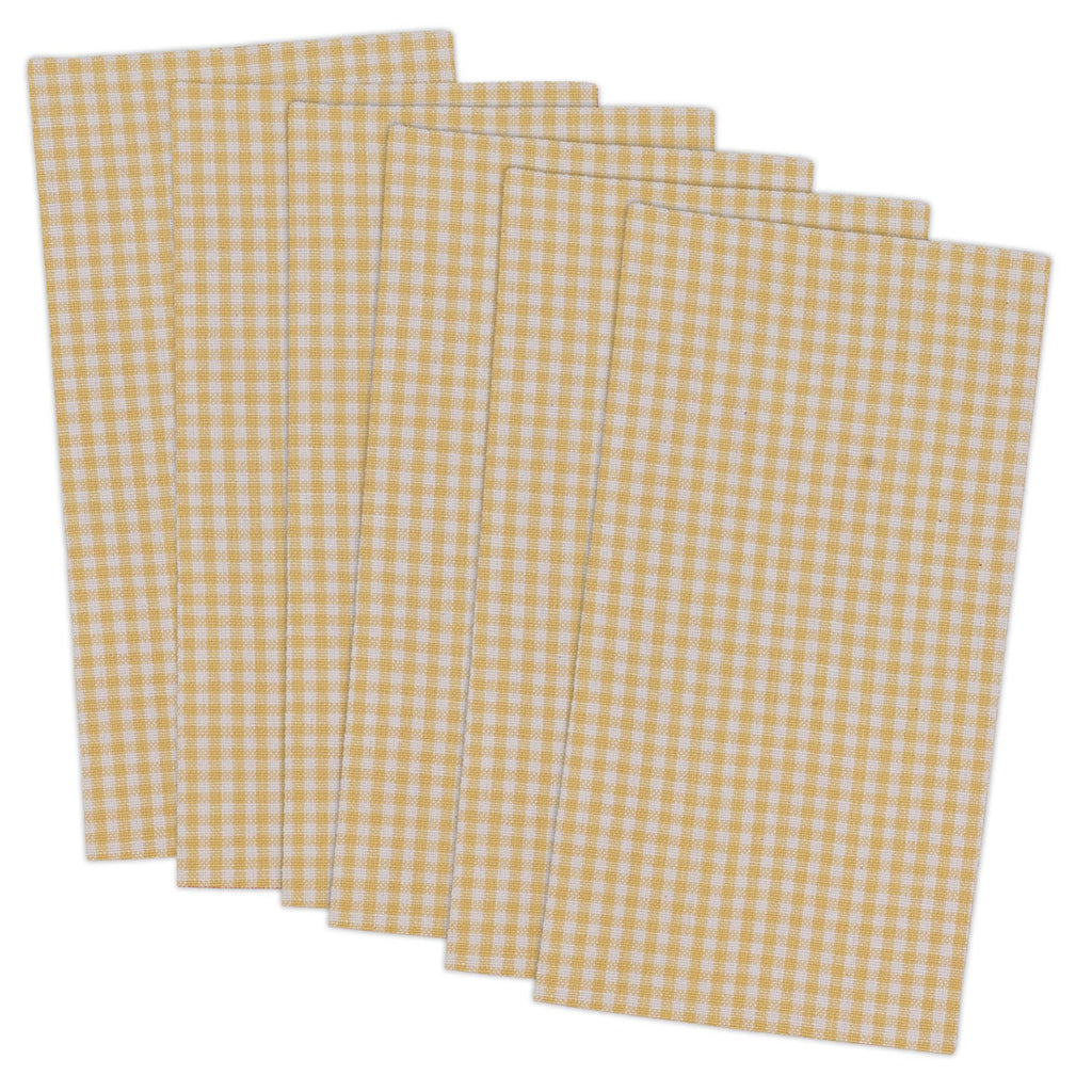 Yellow Small Check Napkin Set/6