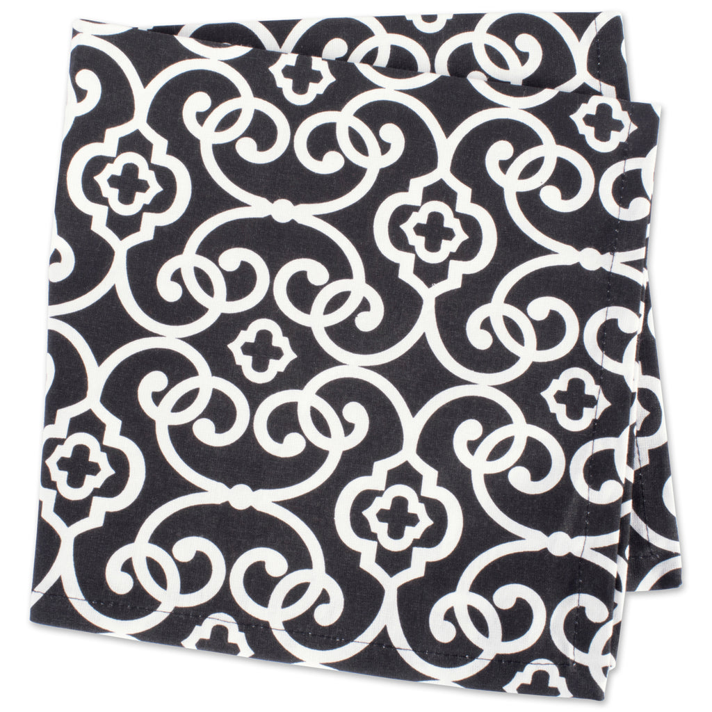DII Black & White Scroll Print Buffet Napkin (Set of 6)
