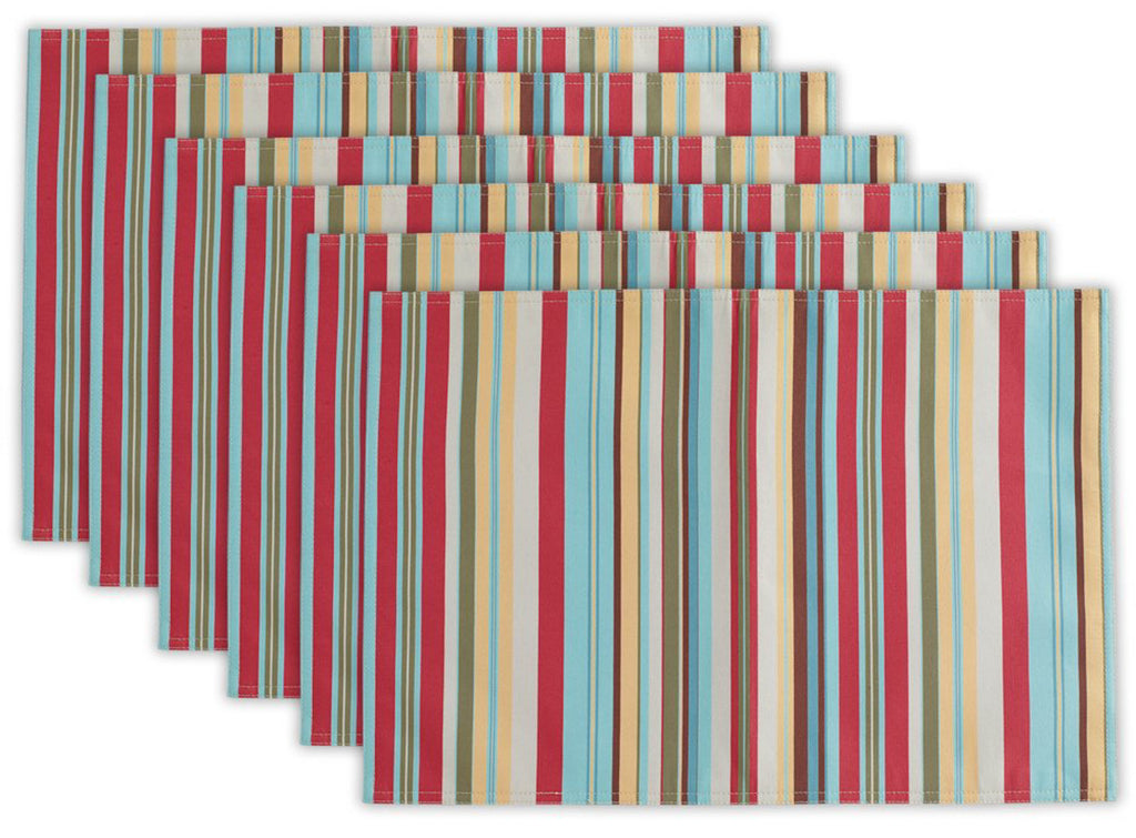 Summer Stripe Outdoor Placemat Set/6