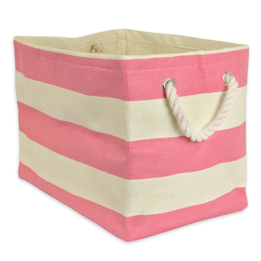 Paper Bin Stripe Pink Rectangle Medium 15x10x12