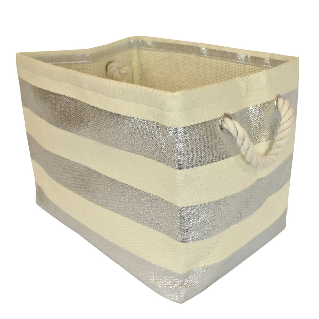 Paper Bin Stripe Silver Rectangle Small 11x10x9