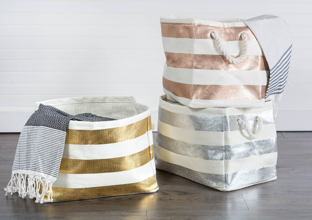 DII Paper Bin Stripe Gold Rectangle Large