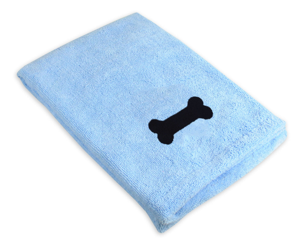 Blue Embroidered Bone Pet Towel