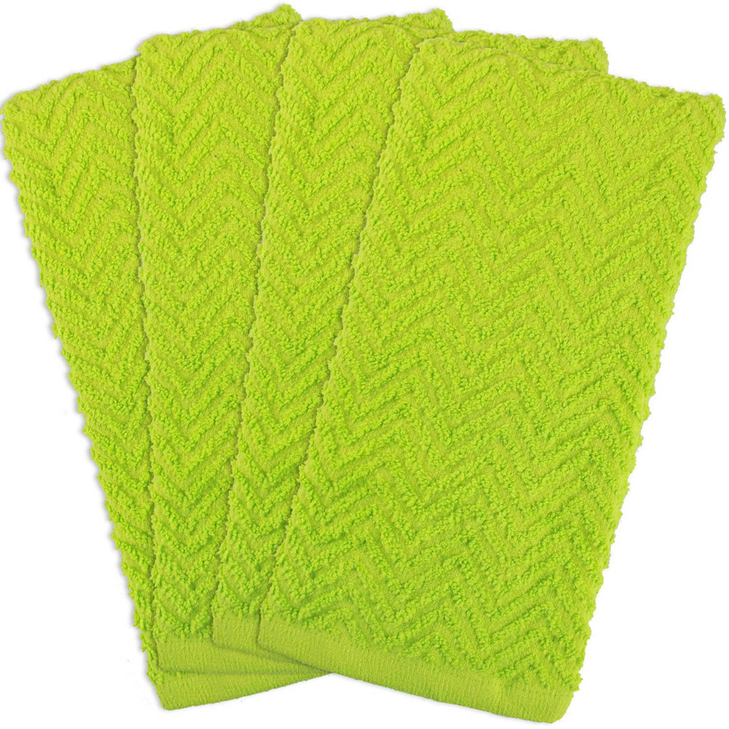 Lime Zigzag Dishtowel Set/4