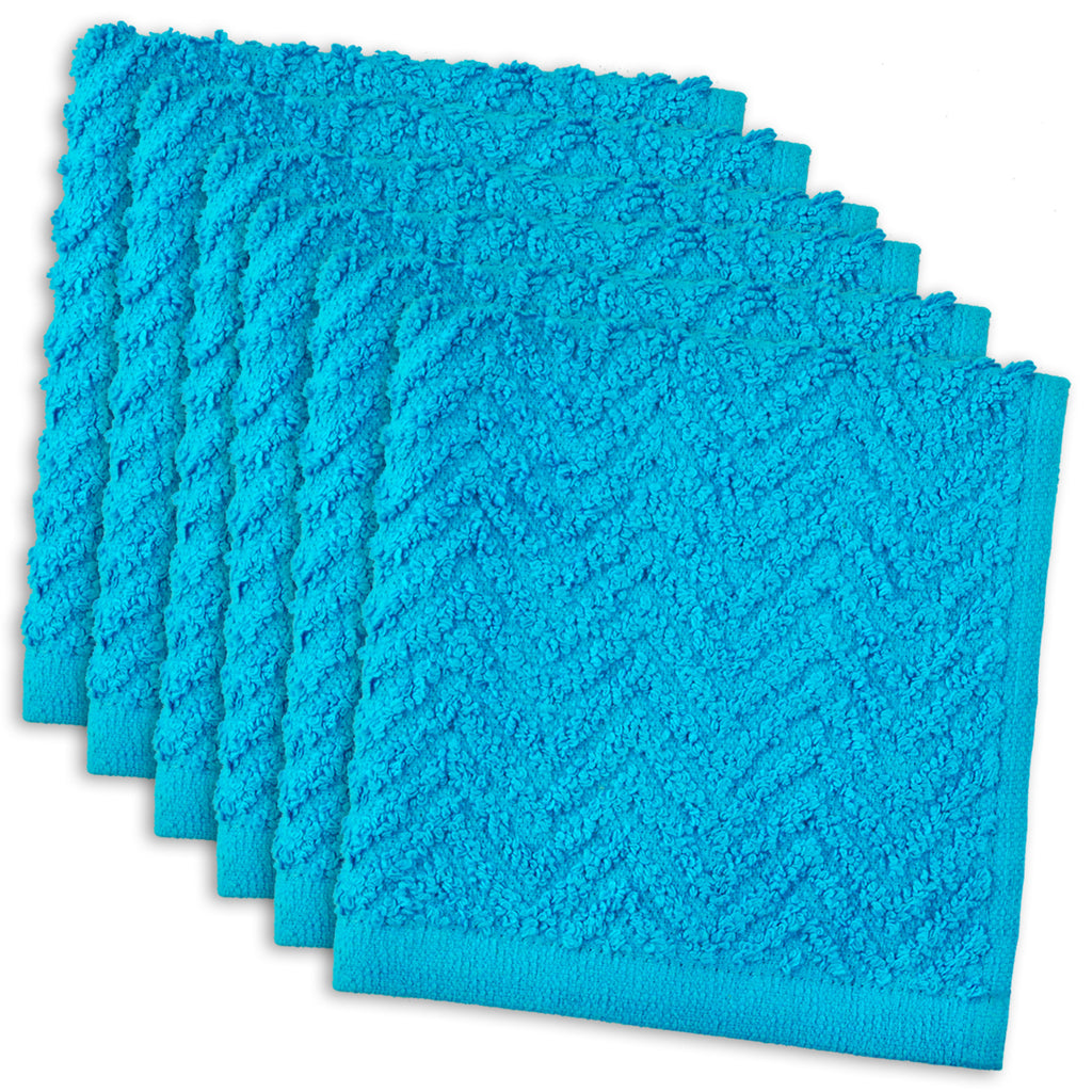 Neon Blue Zigzag Dishcloth Set/6