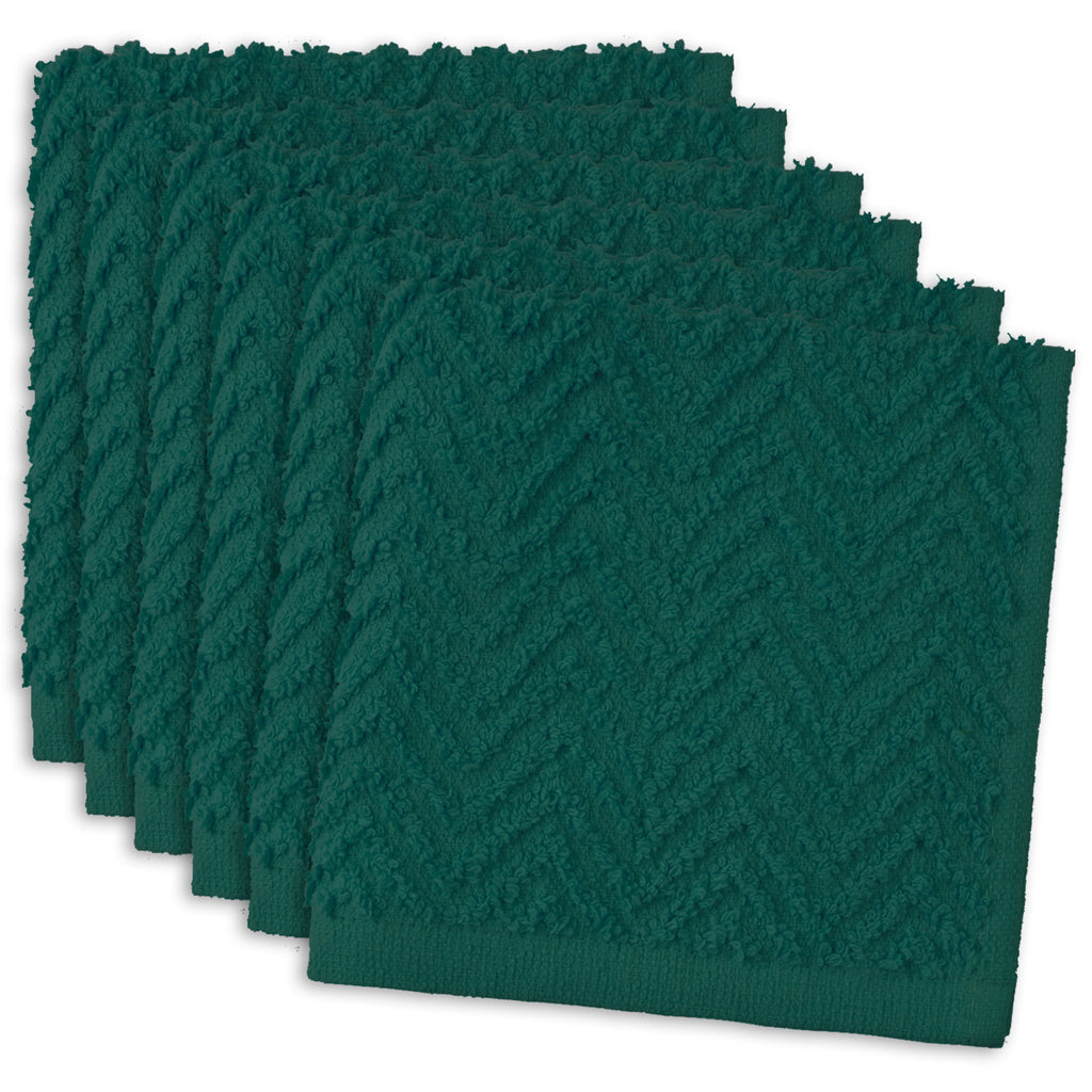 Teal Zigzag Dishcloth Set/6