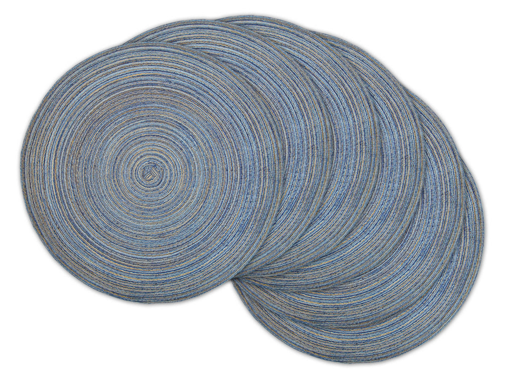 Variegated Blue Round Pp Woven Placemat Set/6