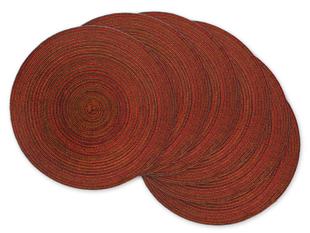 Variegated Red Round Pp Woven Placemat Set/6
