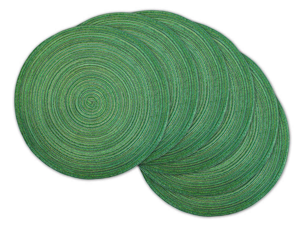 Variegated Green Lurex Round Pp Woven Placemat Set/6