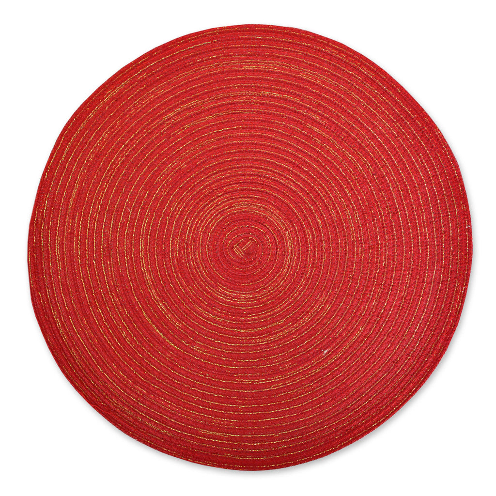 DII Variegated Red Lurex Round Polypropylene Woven Placemat (Set of 6)