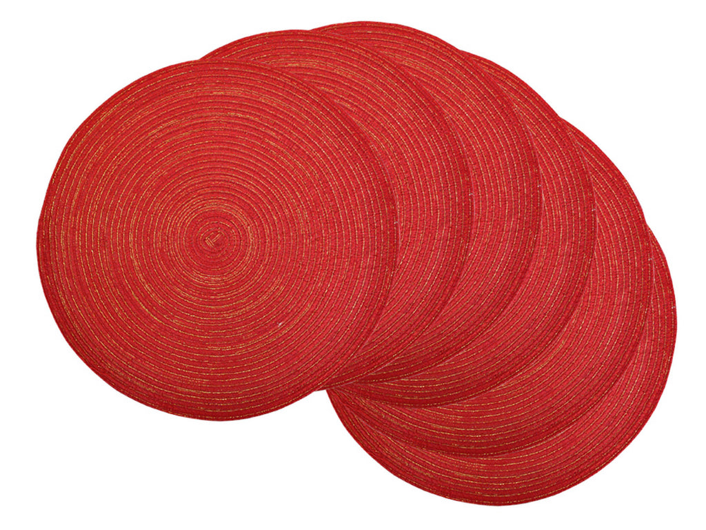 Variegated Red Lurex Round Pp Woven Placemat Set/6