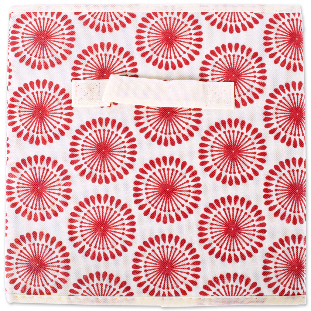 DII Nonwoven Polyester Cube Starburst Tango Red Square (Set of 2)