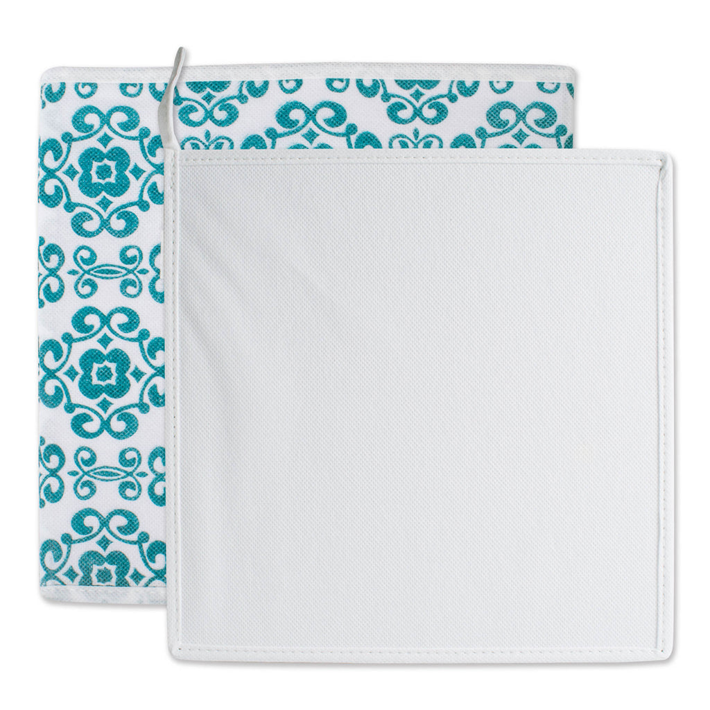 DII Nonwoven Polyester Cube Scroll Teal Square (Set of 2)