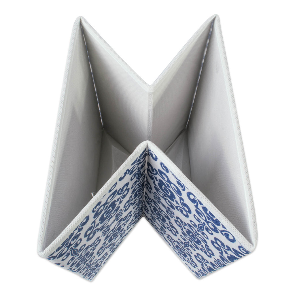 DII Nonwoven Polyester Cube Scroll Nautical Blue Square (Set of 2)