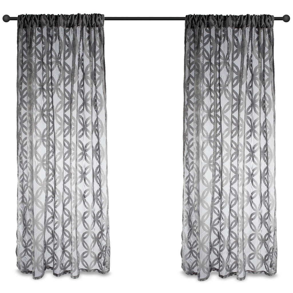 DII Gray Lace Circle Window Curtain (Set of 2)