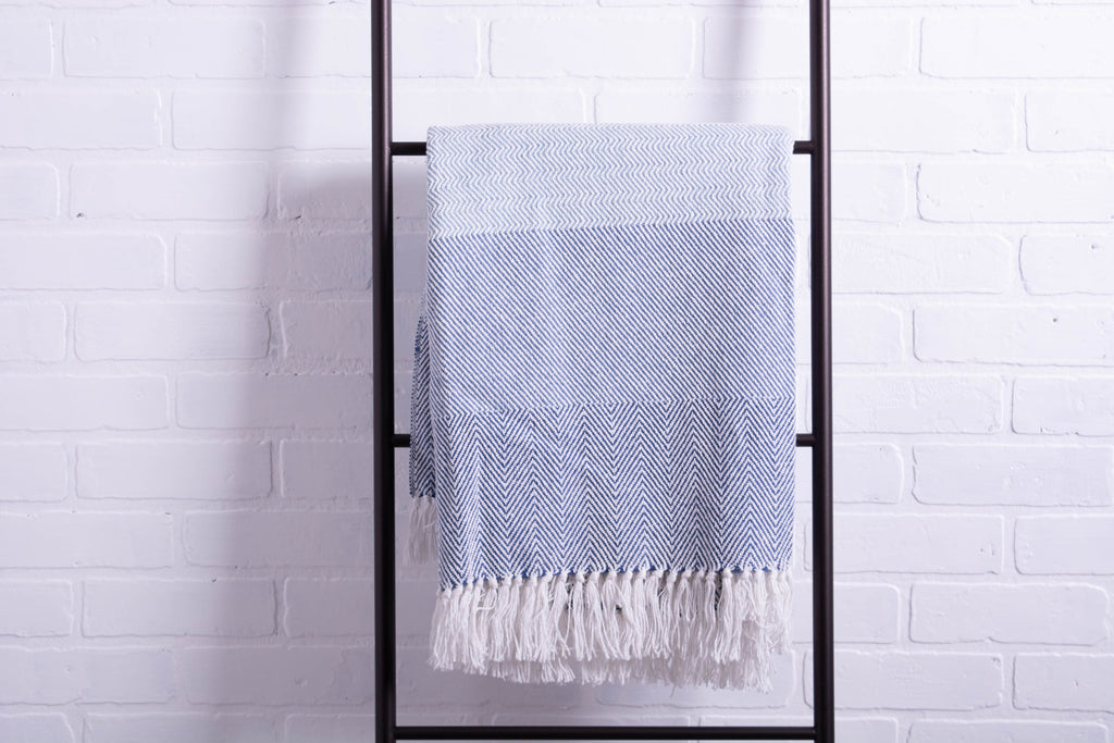DII Blue Stripe Herringbone Throw