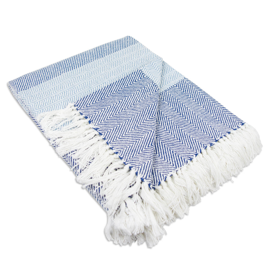 Blue Stripe Herringbone Throw