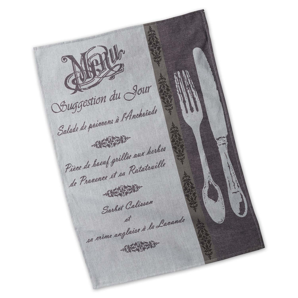 DII French Menu Jacquard Dishtowel (Set of 3)
